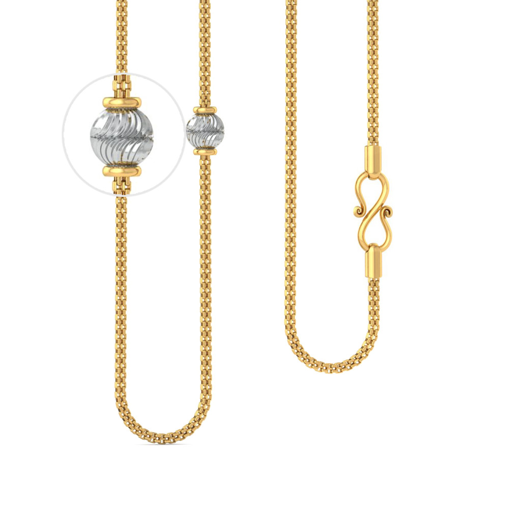 22kt square snake chain with rhodium plated beads Gold Chains