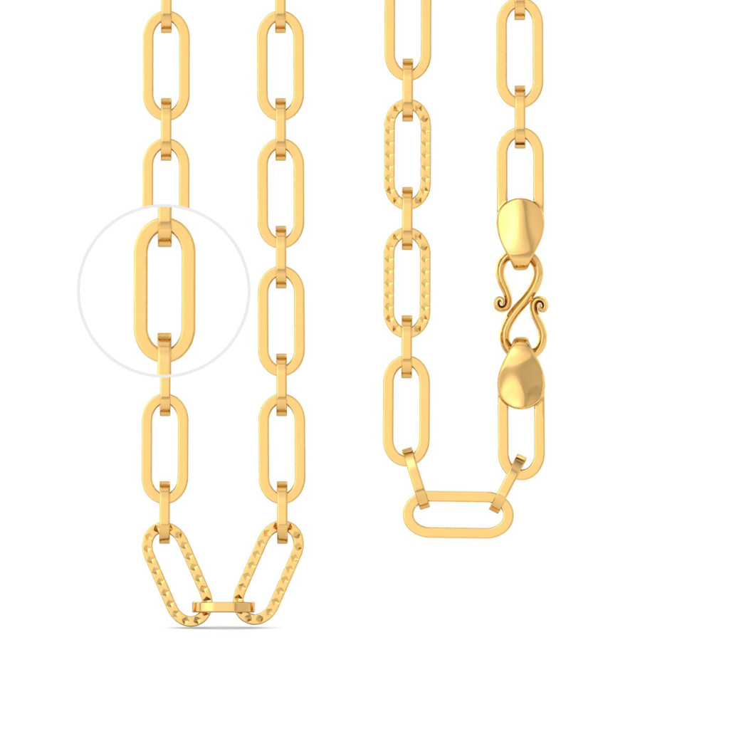 22kt Interlocked Rhodium Plated Oval Link Chain Gold Chains