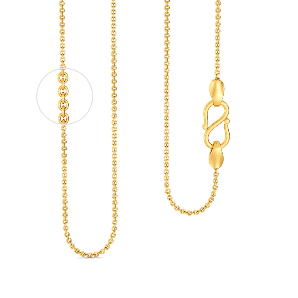 18kt Small Round Anchor Chain Gold Chains