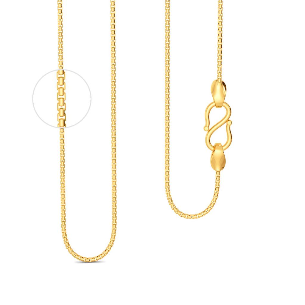18kt Round Boxy Chain Gold Chains