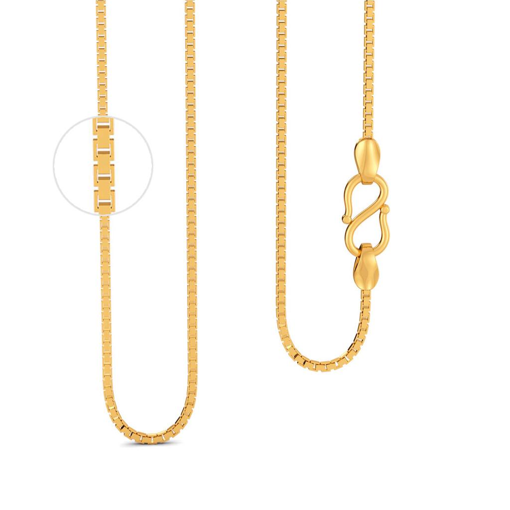 18kt Seven Box Chain Gold Chains