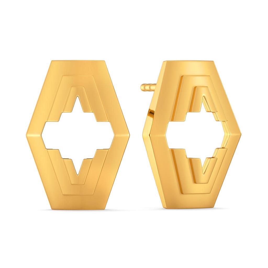 Cinch Suit Gold Earrings