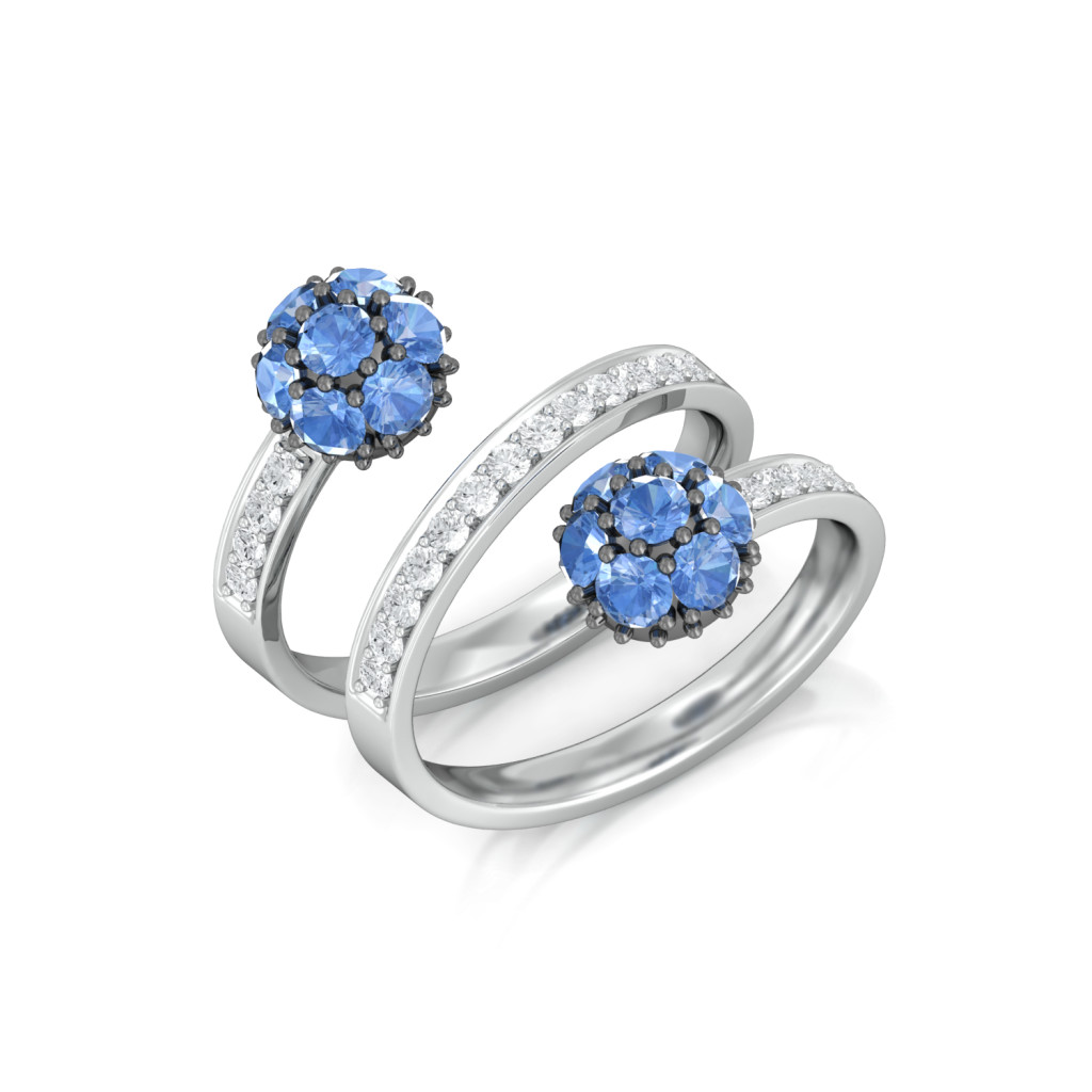 Blue Orb Diamond Rings
