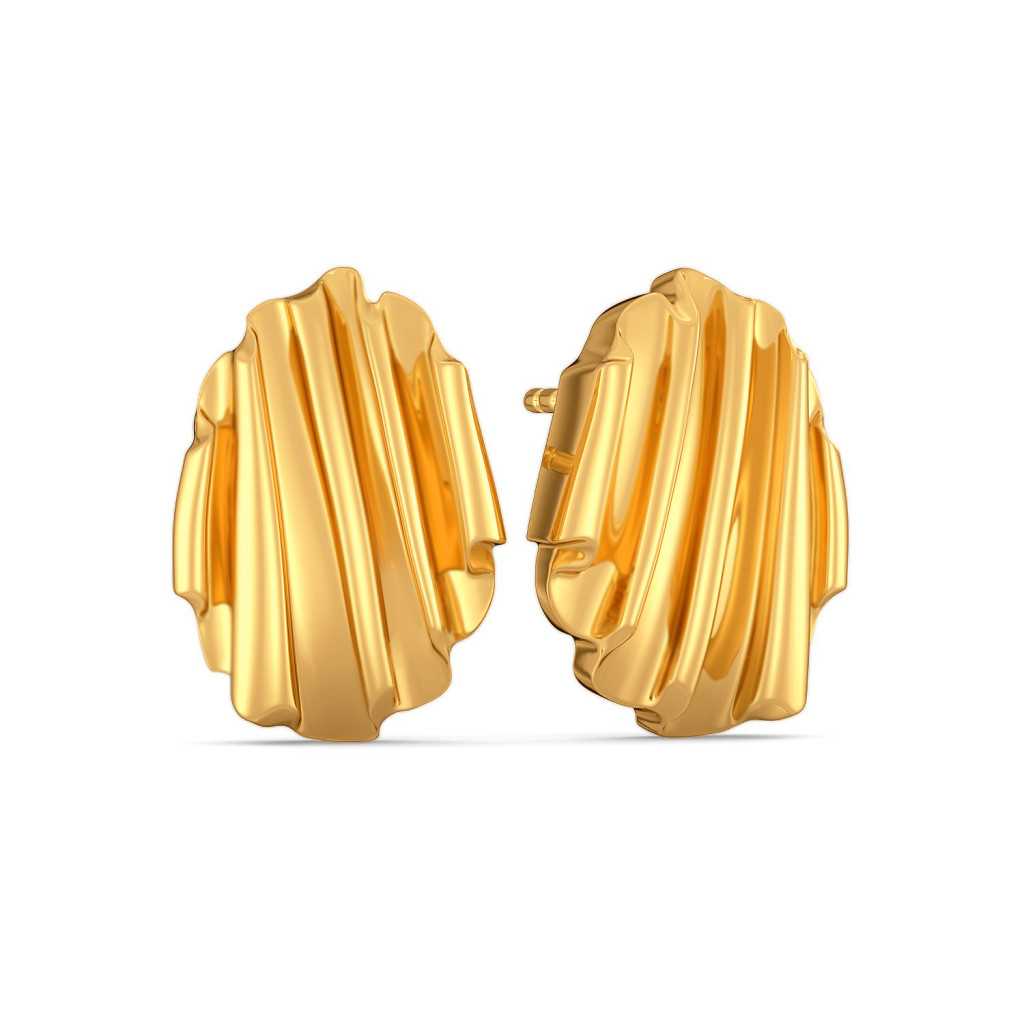 Ruffle Truffle Gold Earrings