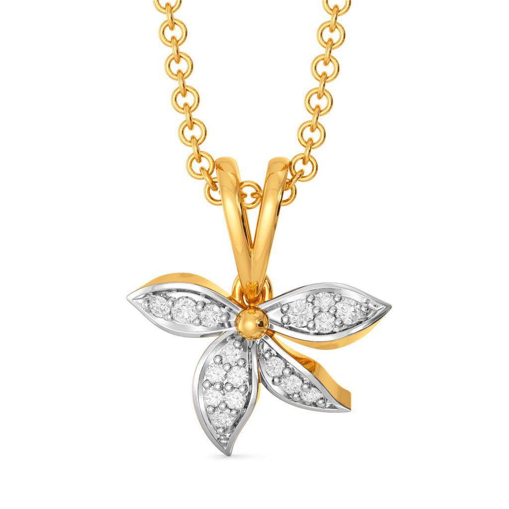 Half Blooms Diamond Pendants