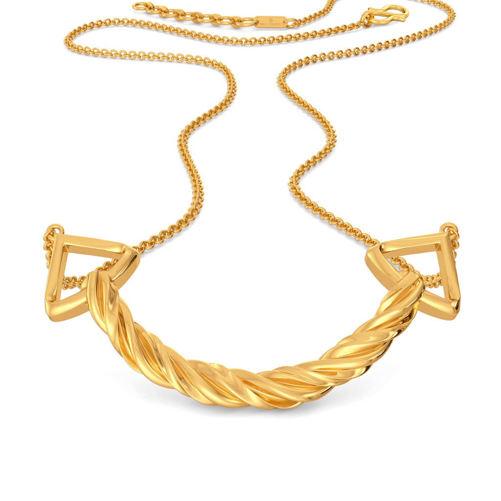 Fringe Twirls Gold Necklaces