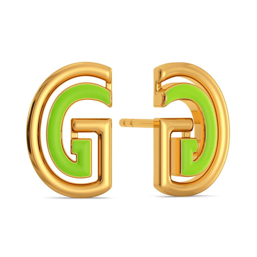 Green Grabs Gold Earrings