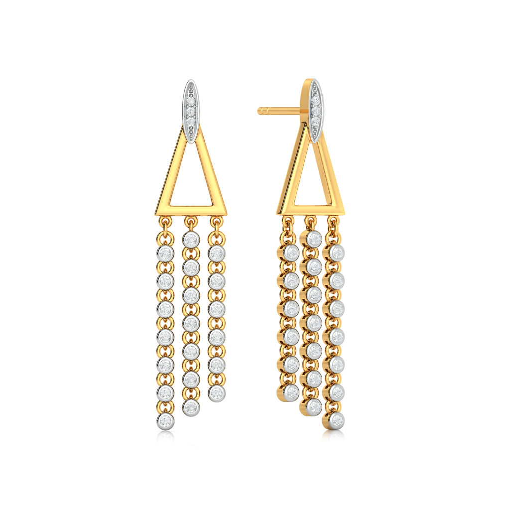 Dangle Triangle Diamond Earrings