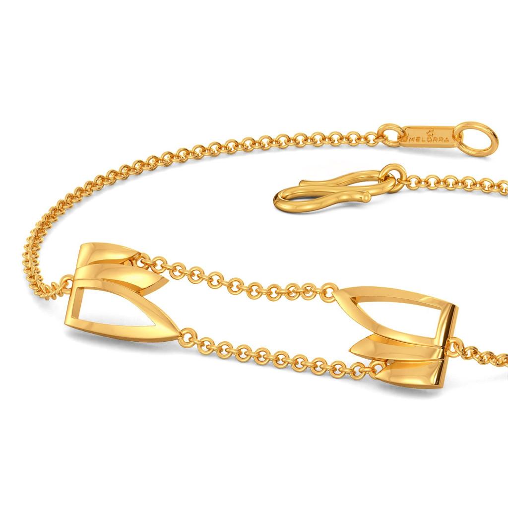 Feathery Wave Gold Bracelets