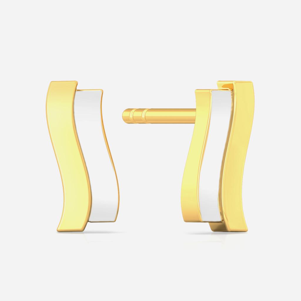 Twin Strokes Gold Earrings