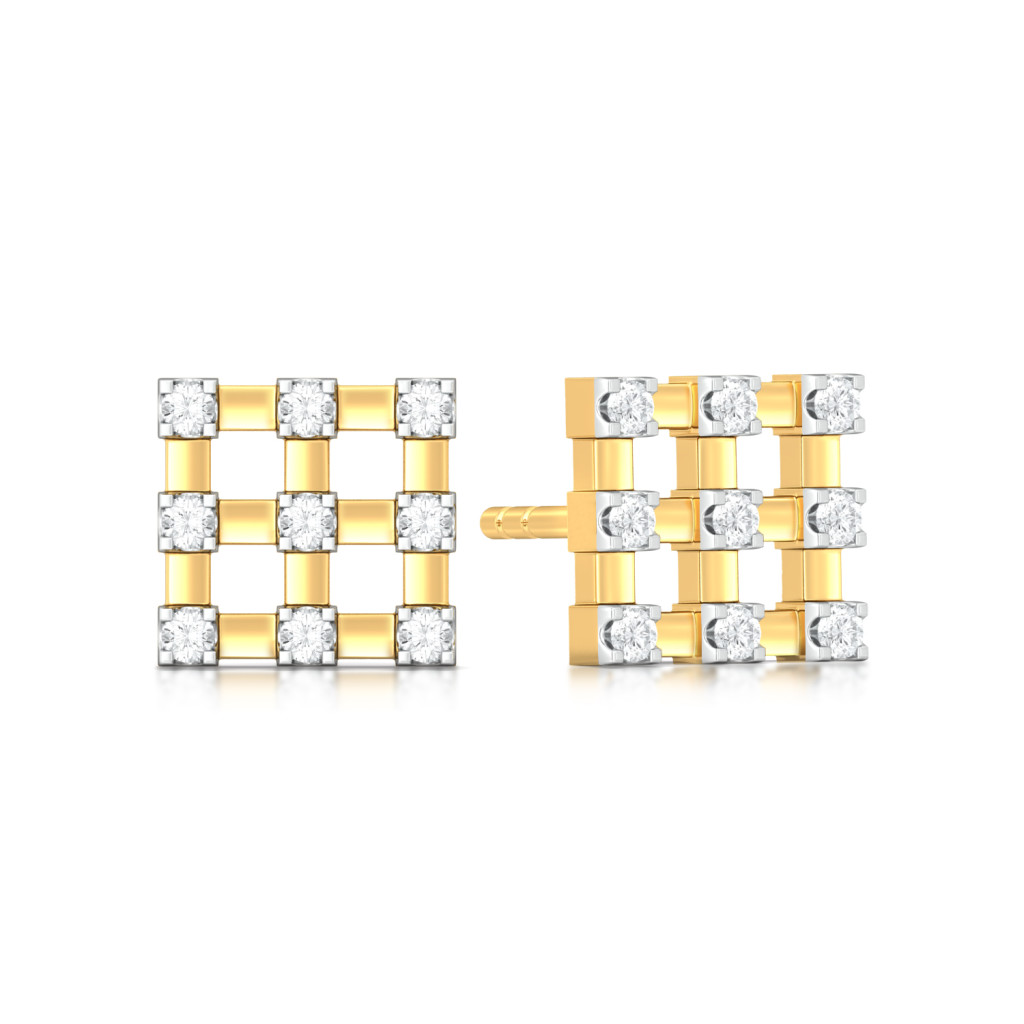 Checkered Bling Diamond Earrings