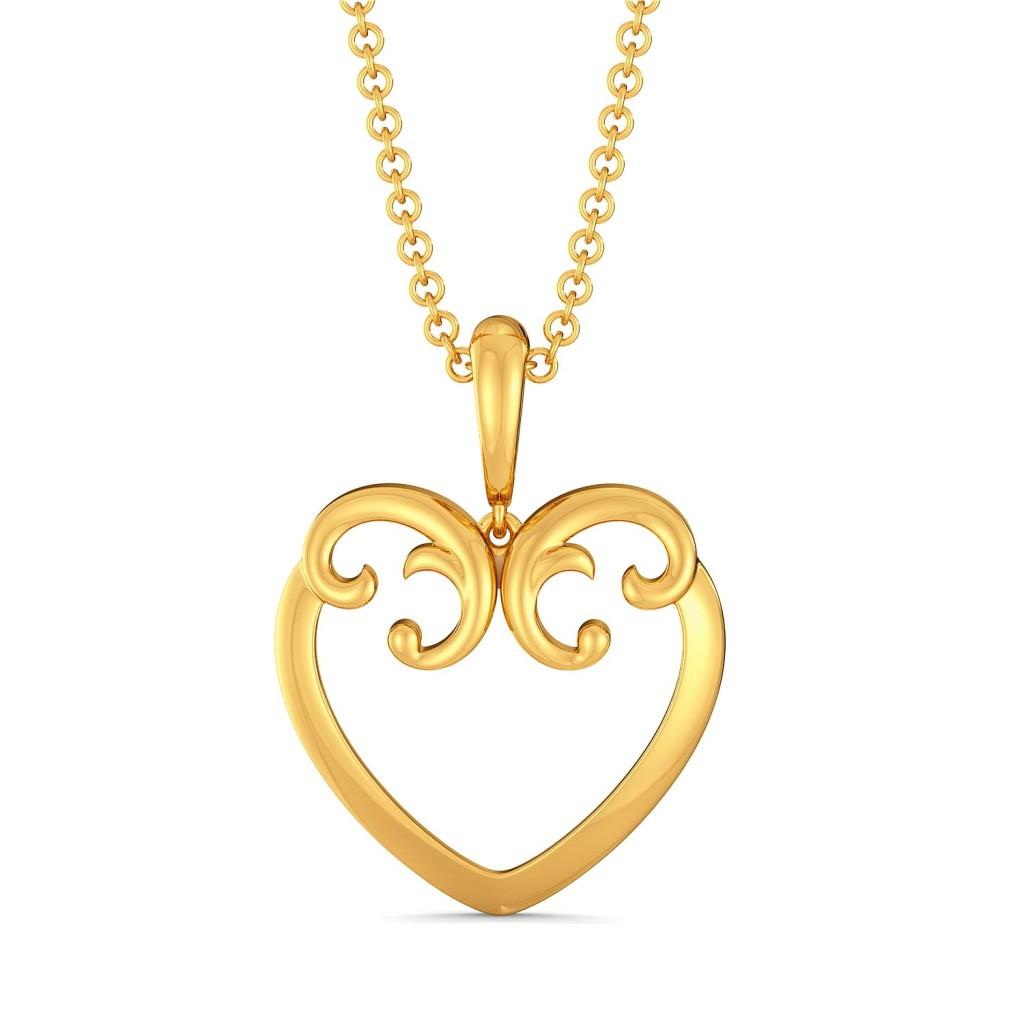 Scroll of Hearts Gold Pendants
