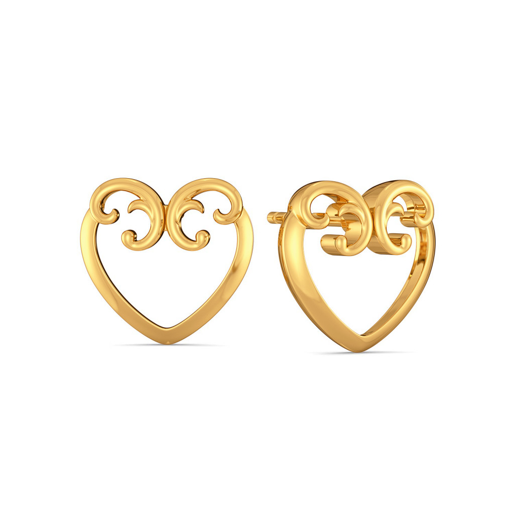 Scroll of Hearts Gold Earrings