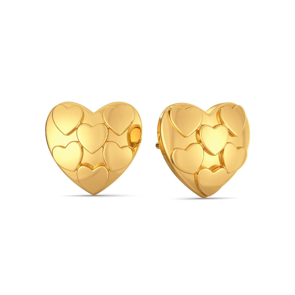 Club of Hearts Gold Earrings