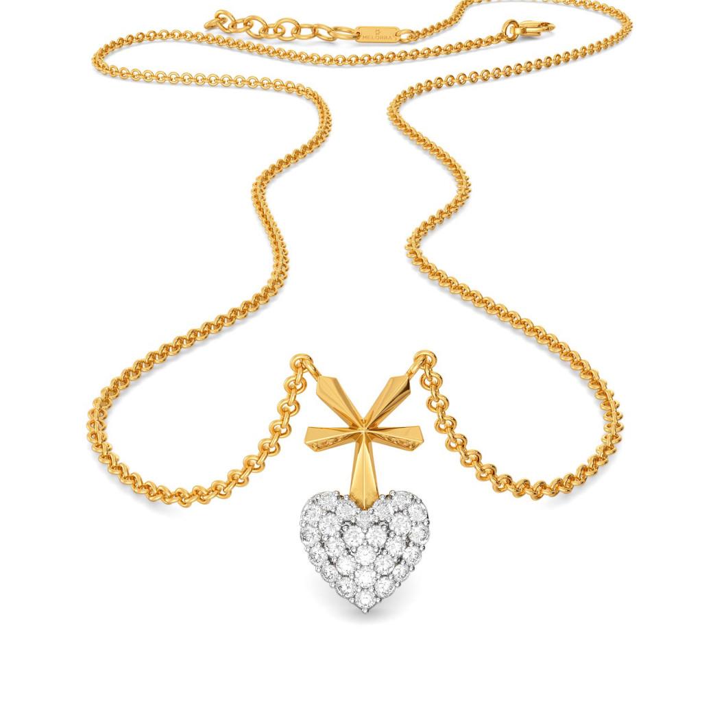 Hearts on Pleats Diamond Necklaces