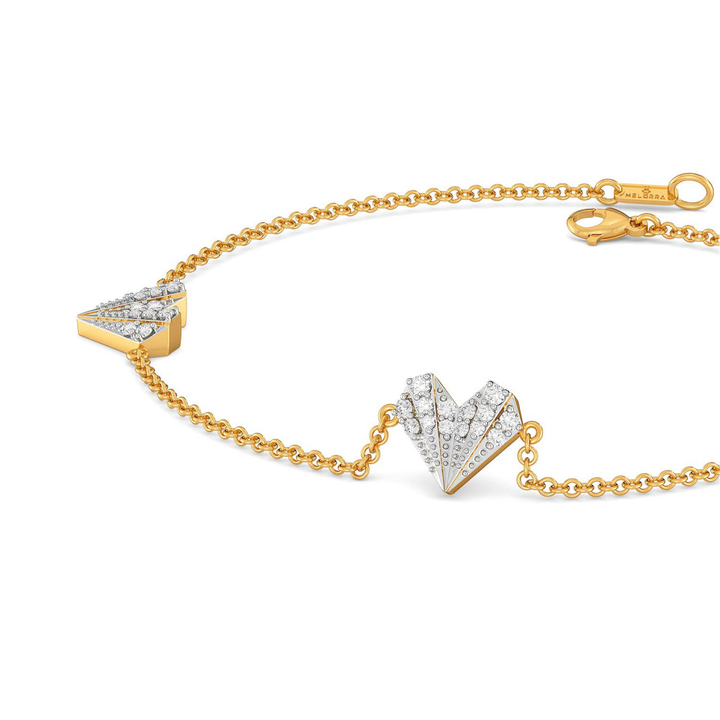 Pleated Hearts Diamond Bracelets