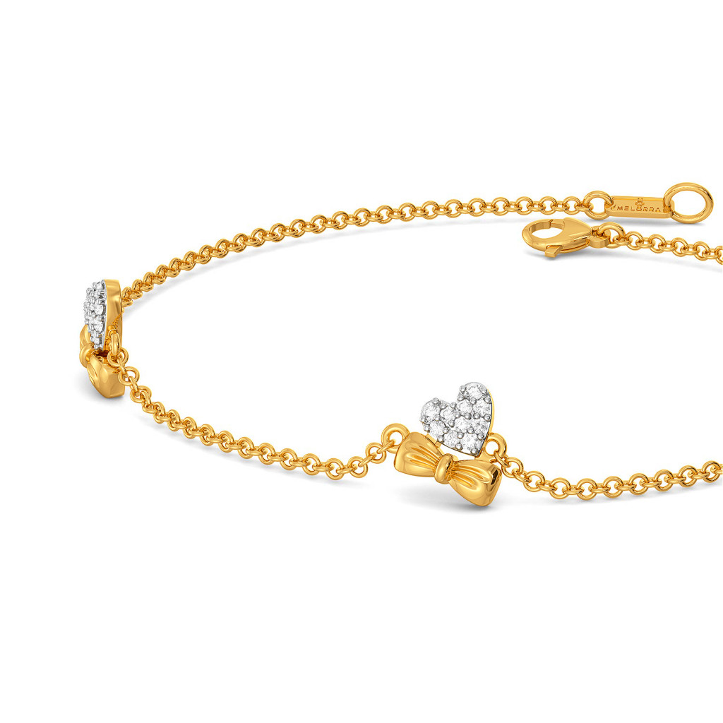 Hearts on Bow Diamond Bracelets