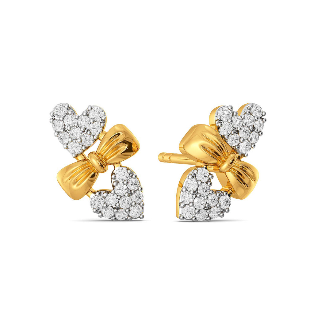 Hearts on Bow Diamond Earrings