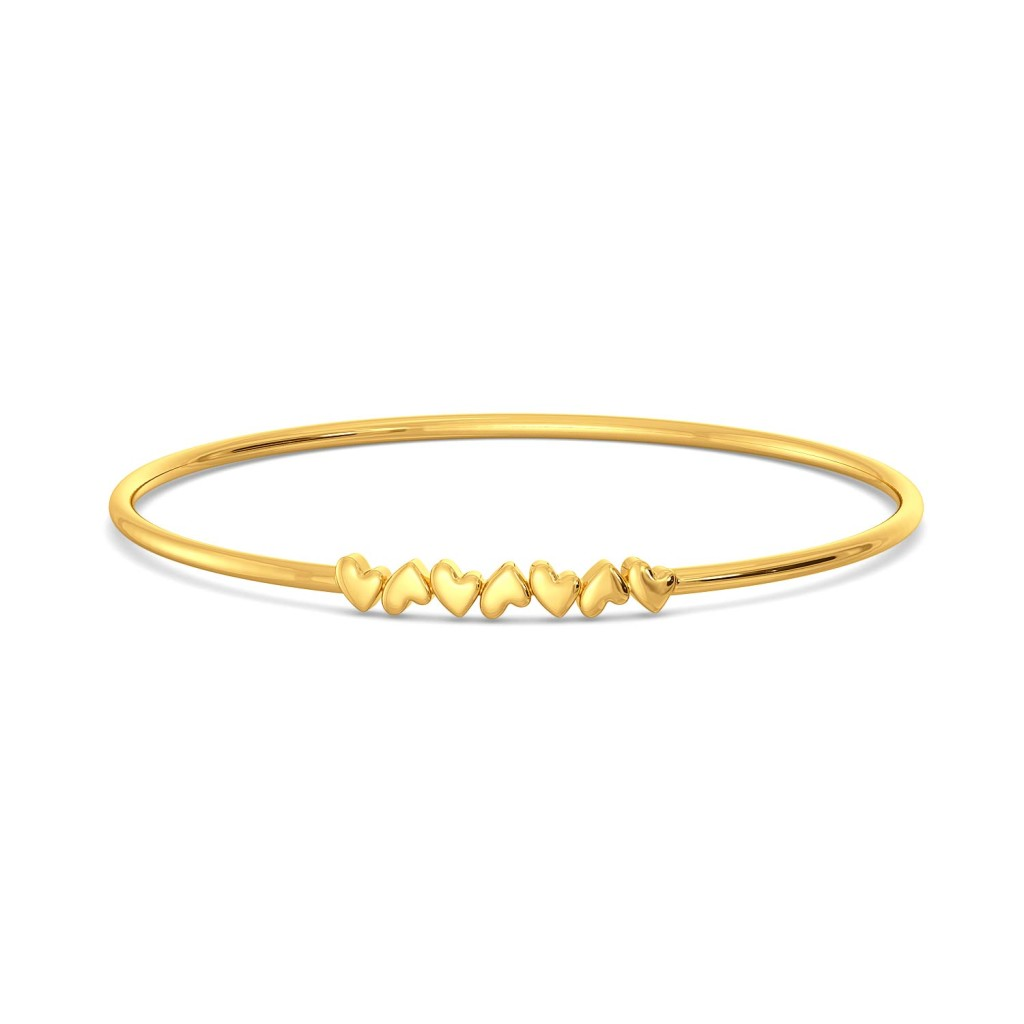 Heart Uptend Gold Bangles