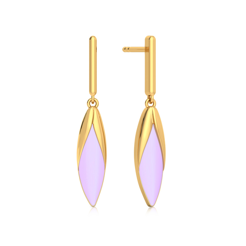 Amethyst Hue Gold Earrings