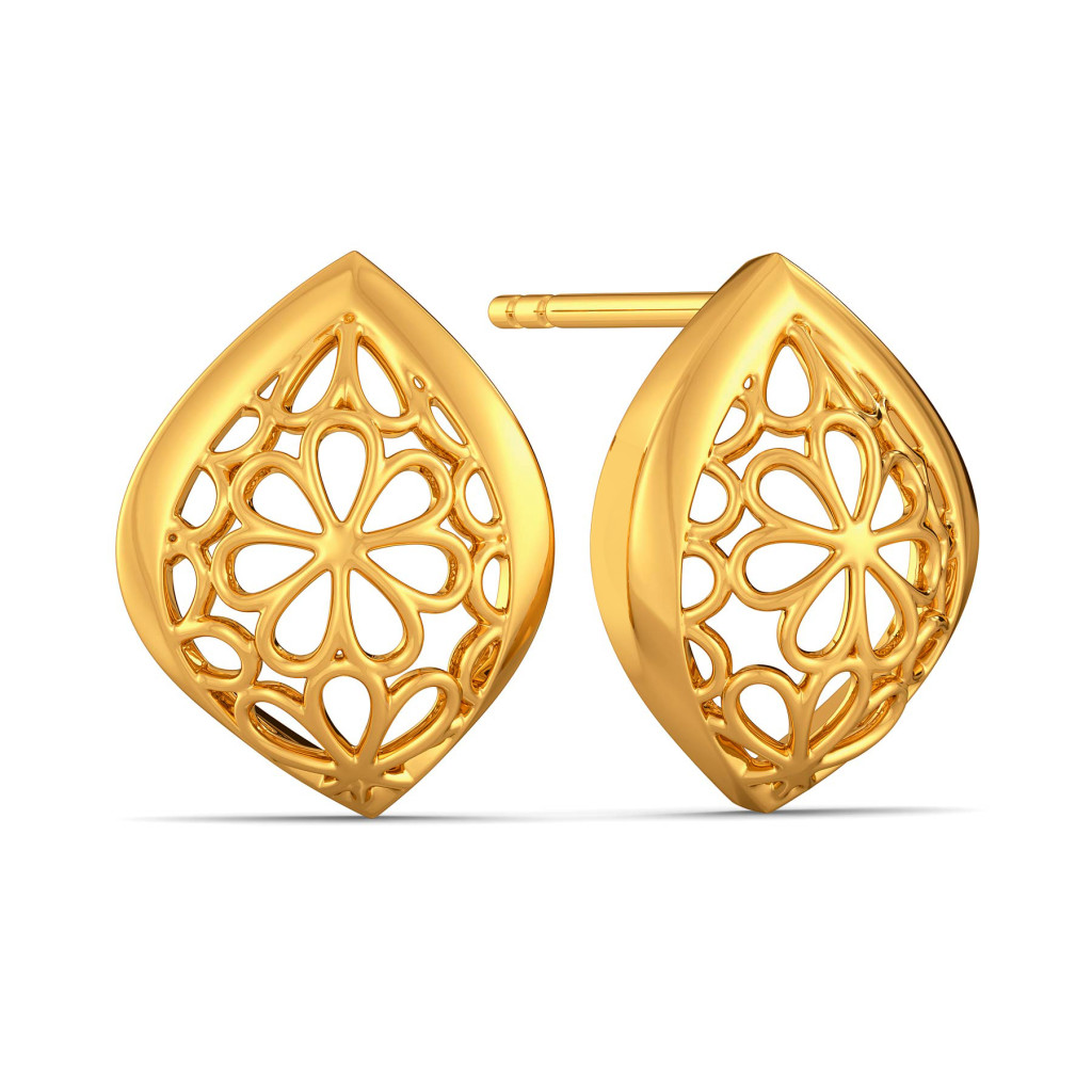 Lacy Notes Gold Earrings