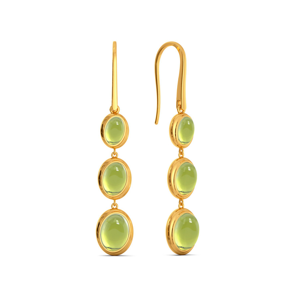 Green Groove Gemstone Earrings