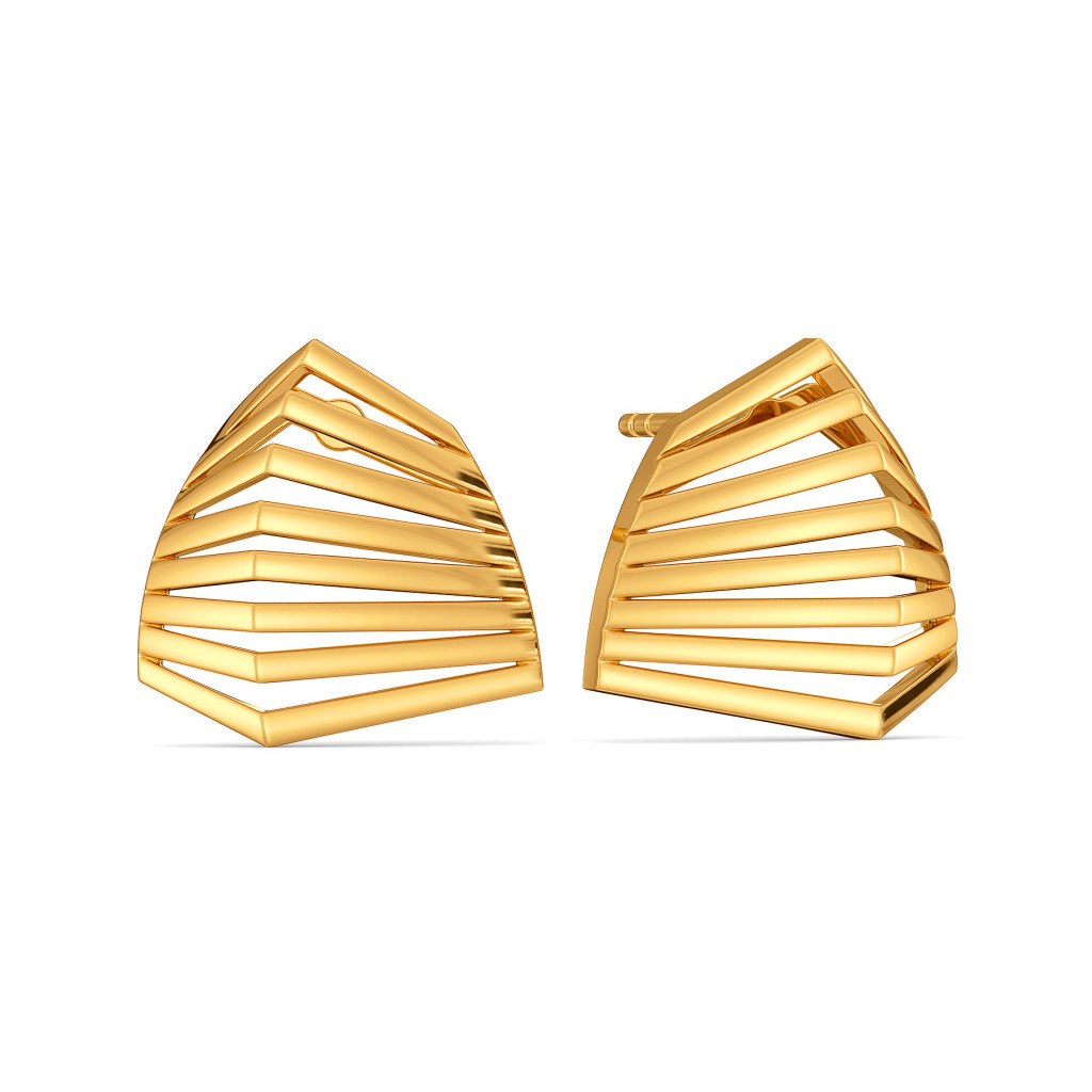 A Puffed Pair Gold Earrings
