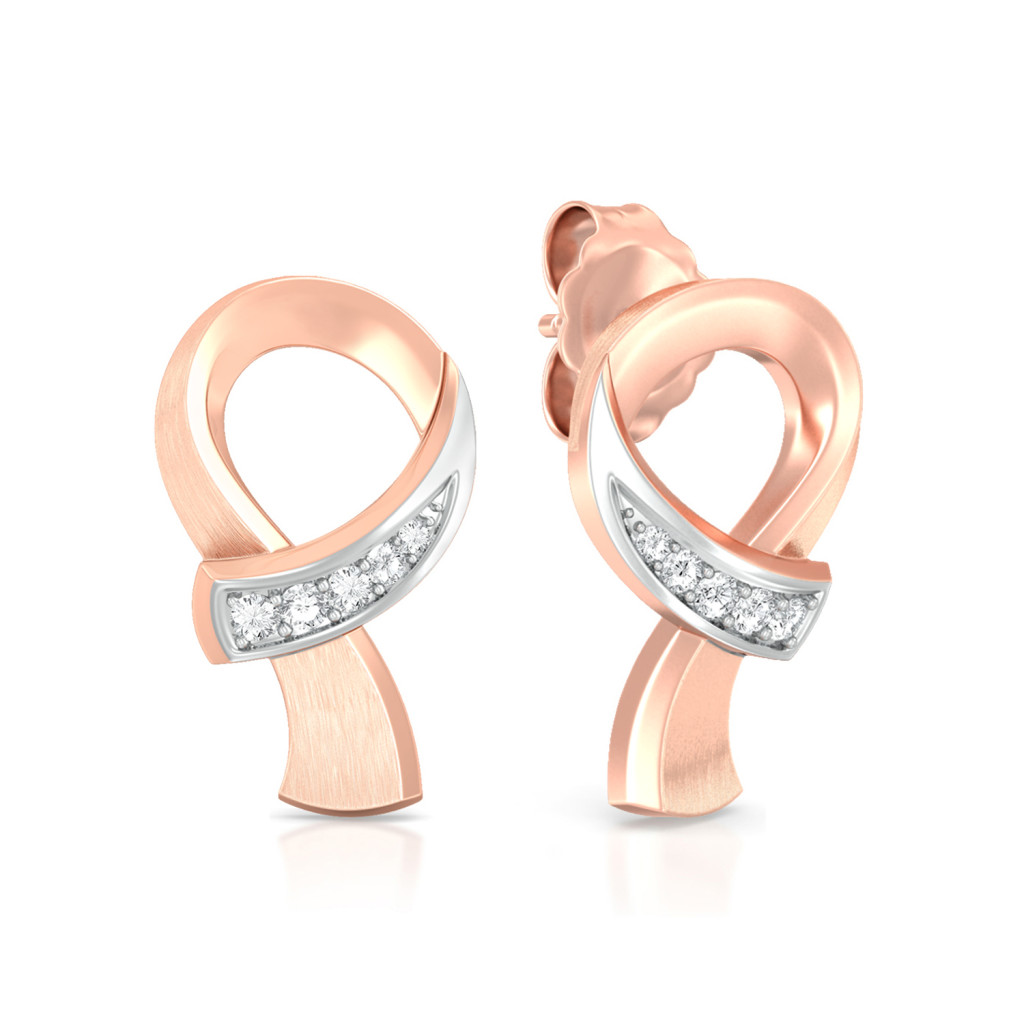 Ribbon Loop Diamond Earrings