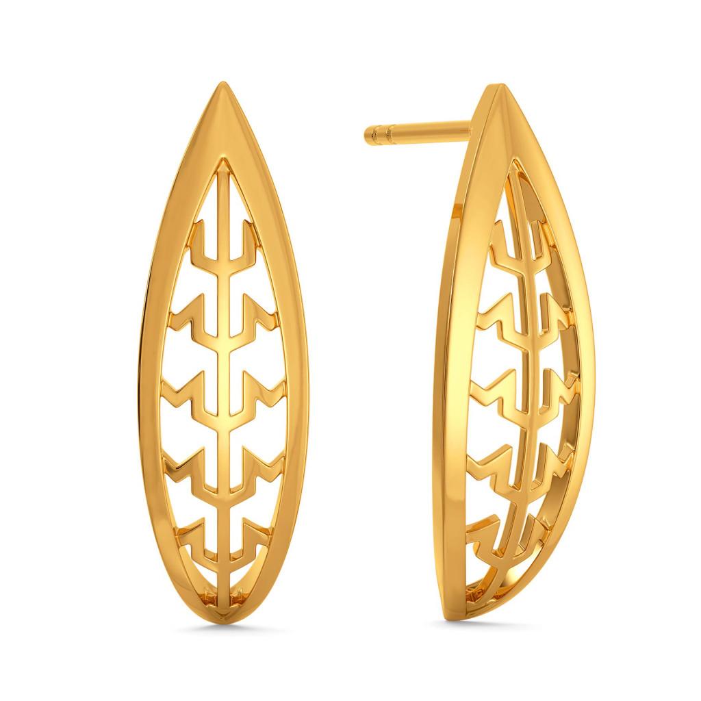 Peek A Tweed Gold Earrings