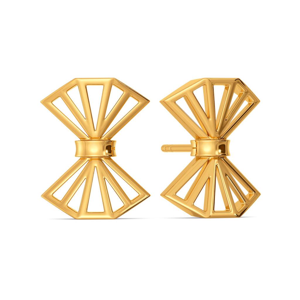 Handtied Bows Gold Earrings