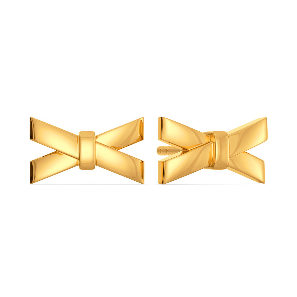 Bow Buckles Gold Earrings