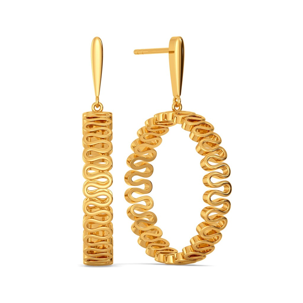 Knit Detail Gold Earrings