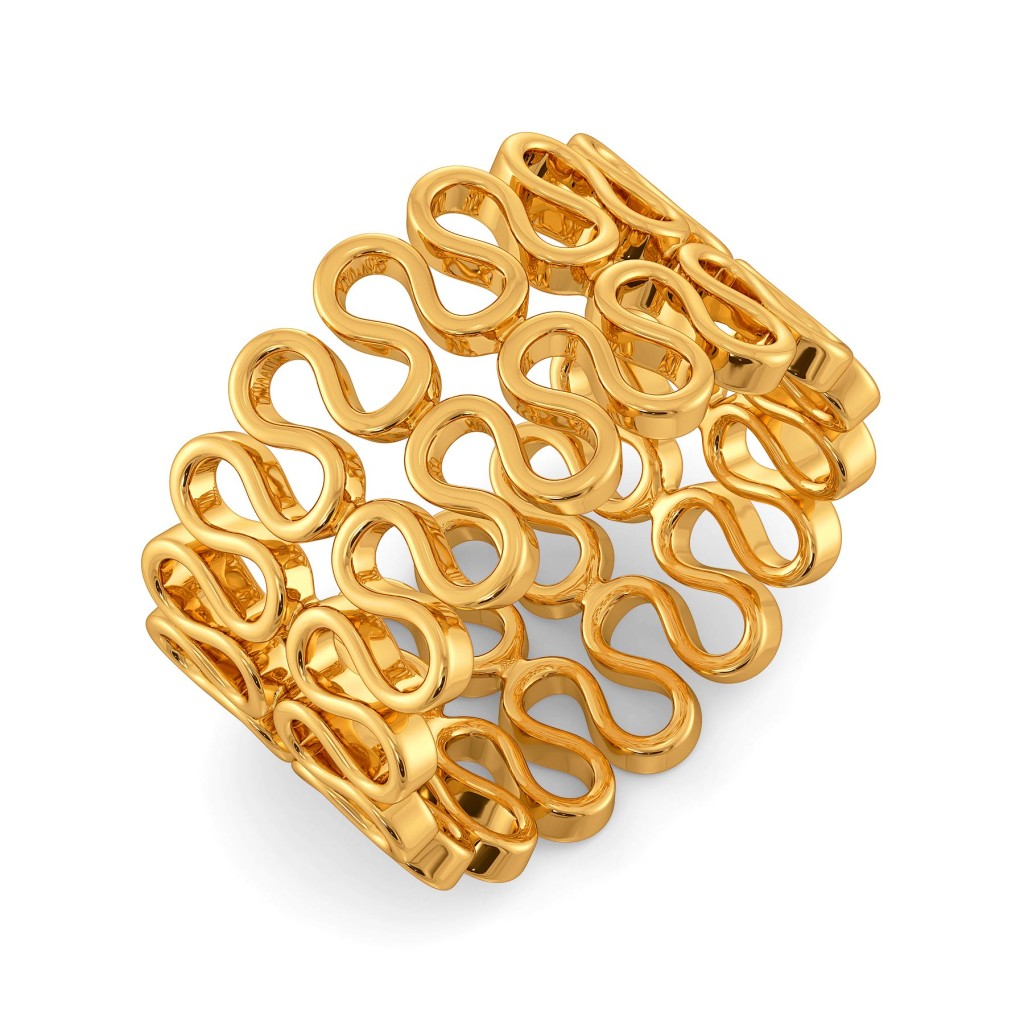 Knit Layers Gold Rings