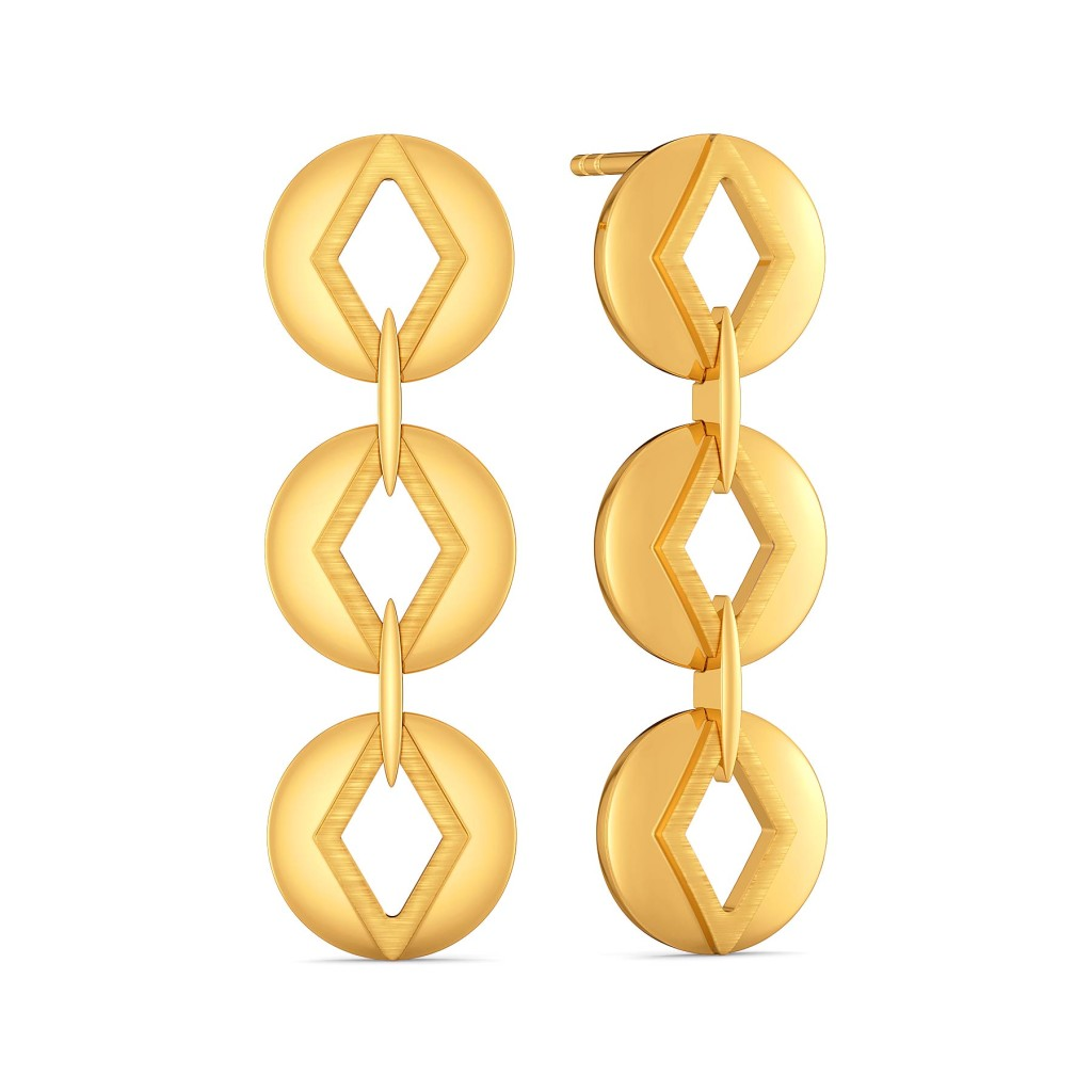 Quirky Work Gold Earrings