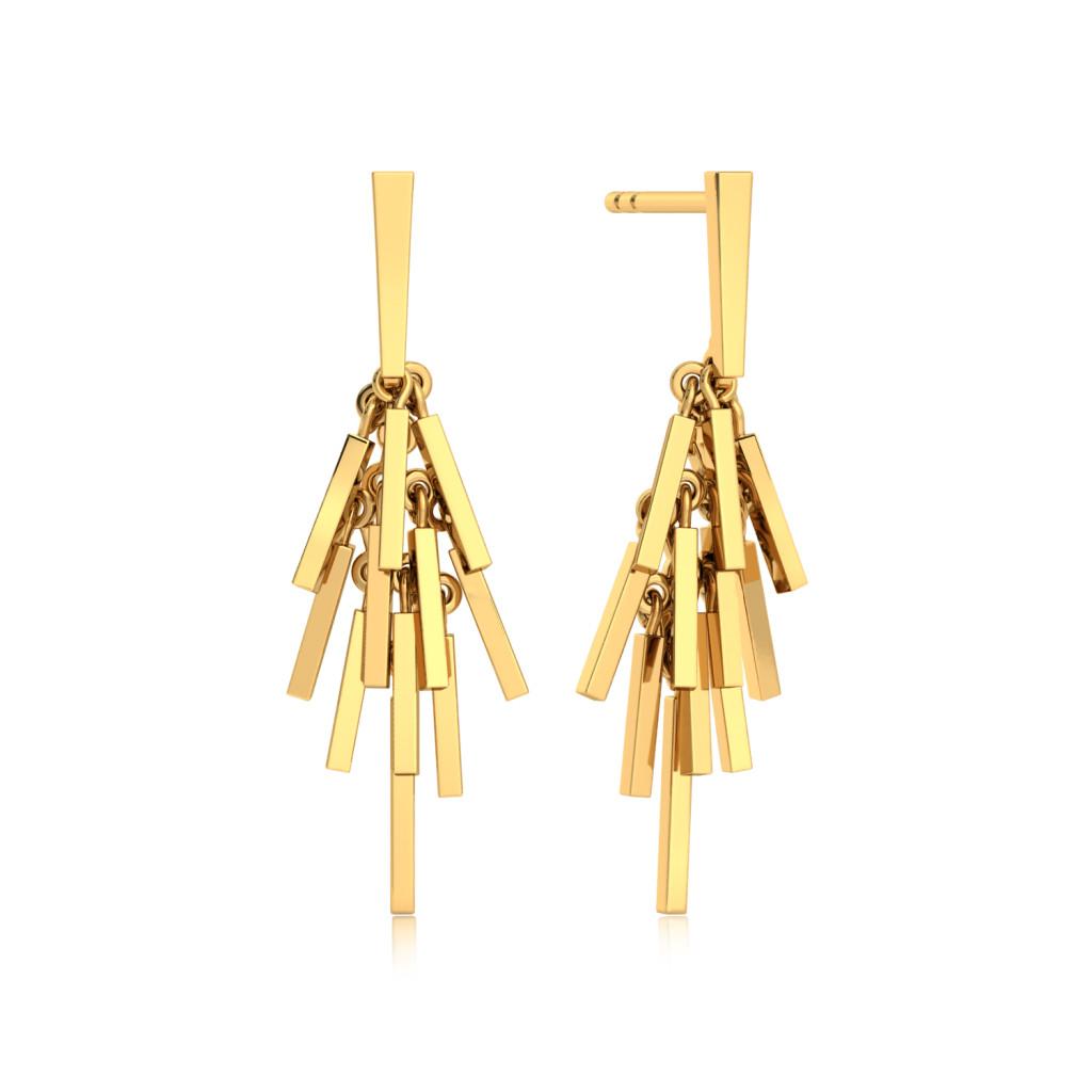 Fringe Bouquet  Gold Earrings