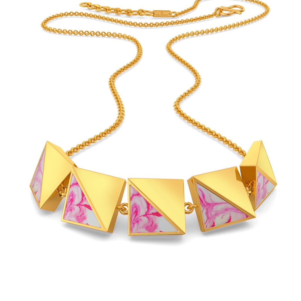 Pink Shibori Gold Necklaces