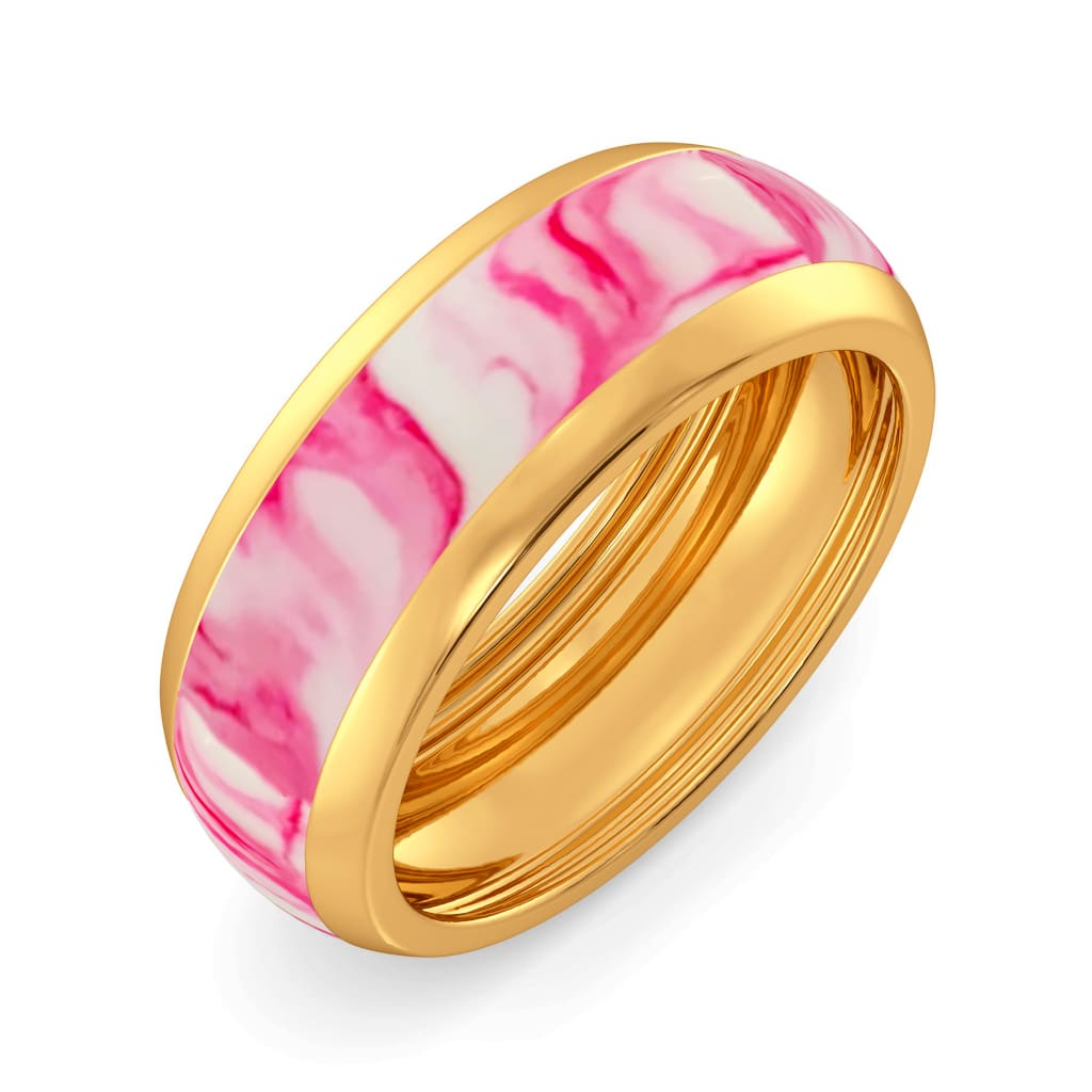 Pink Palette Gold Rings