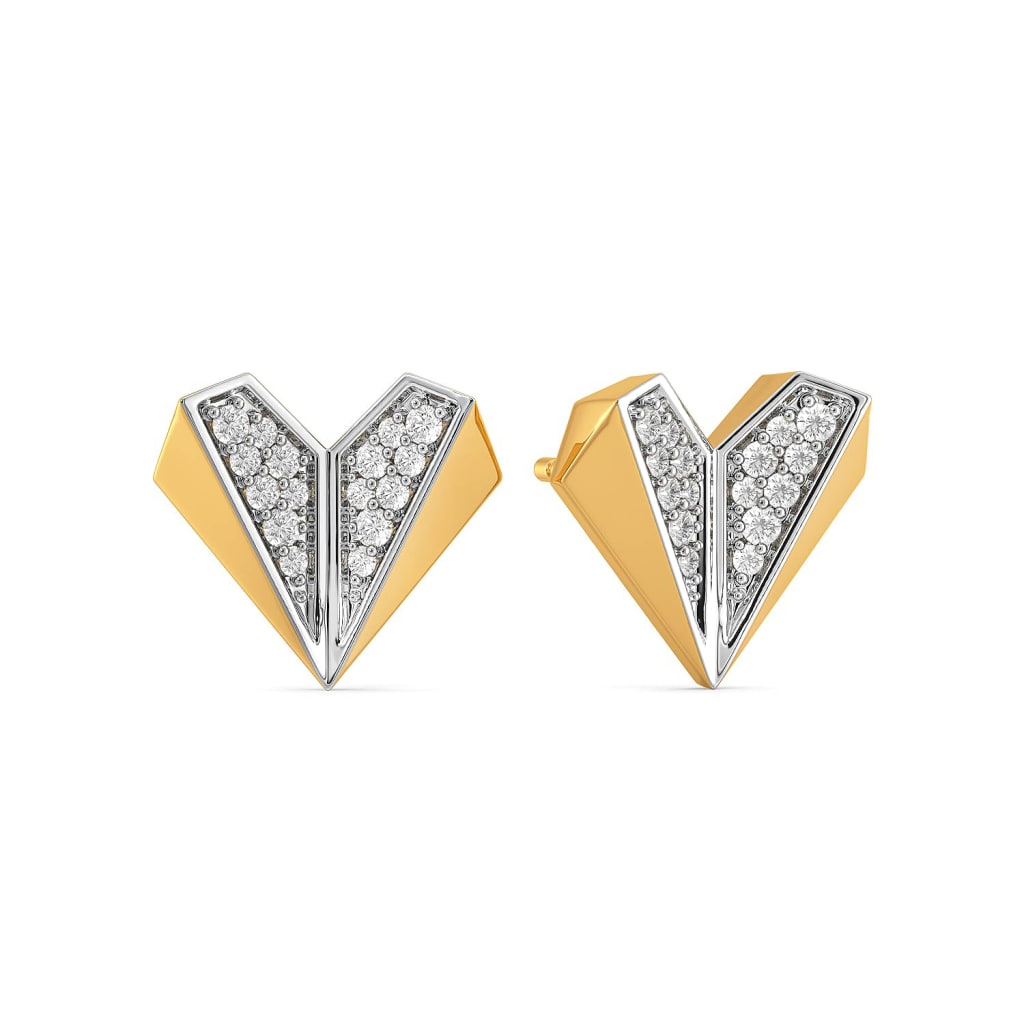 Heart Mache Diamond Earrings