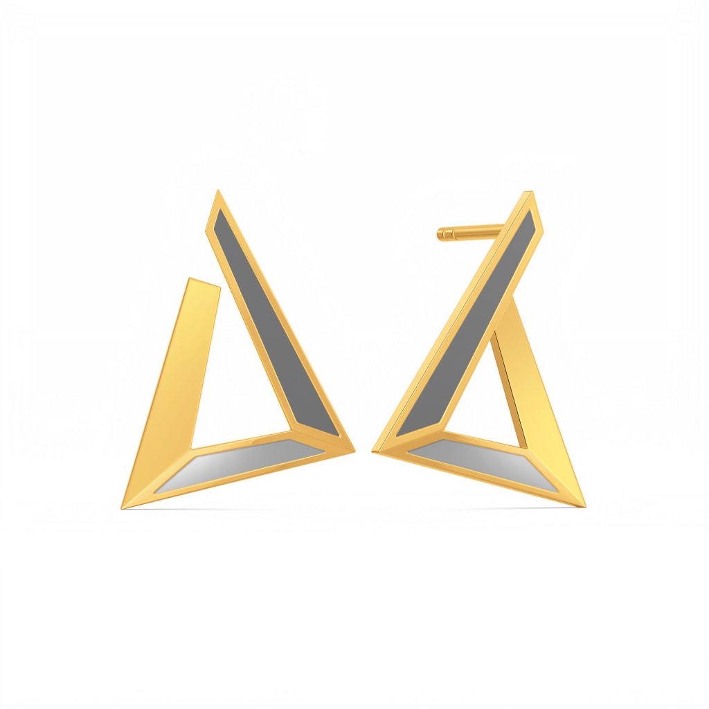 Grey Hierarchy Gold Earrings
