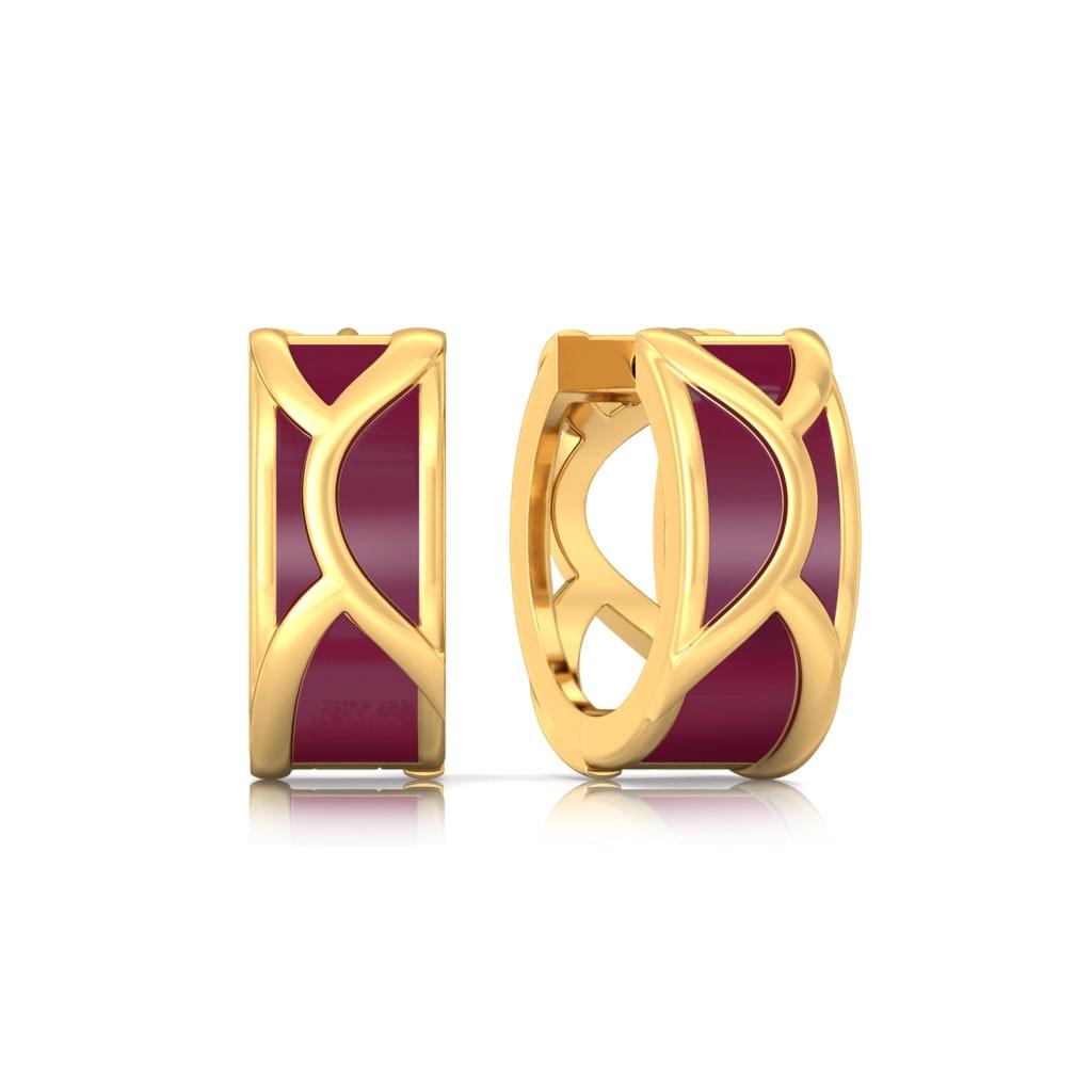 Merlot Curl Gold Earrings