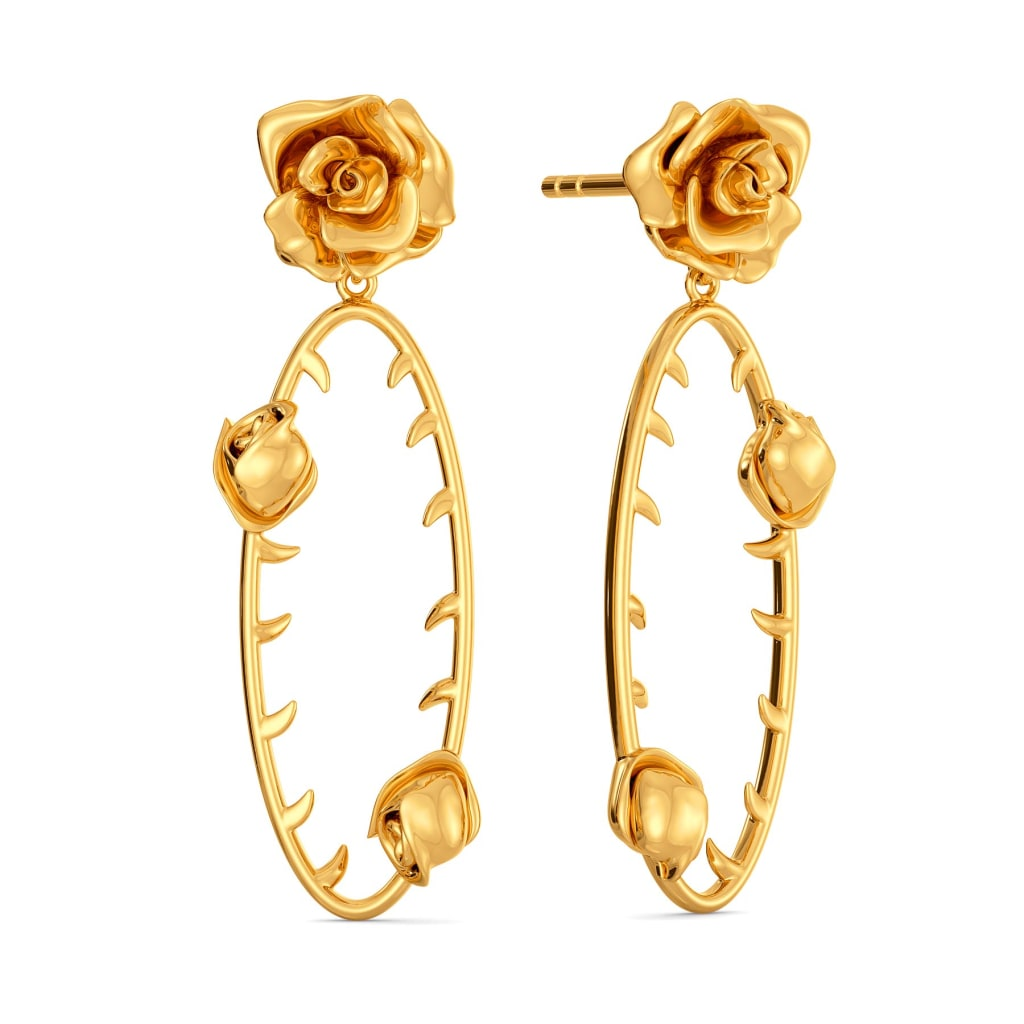 Barbed Buds Gold Earrings