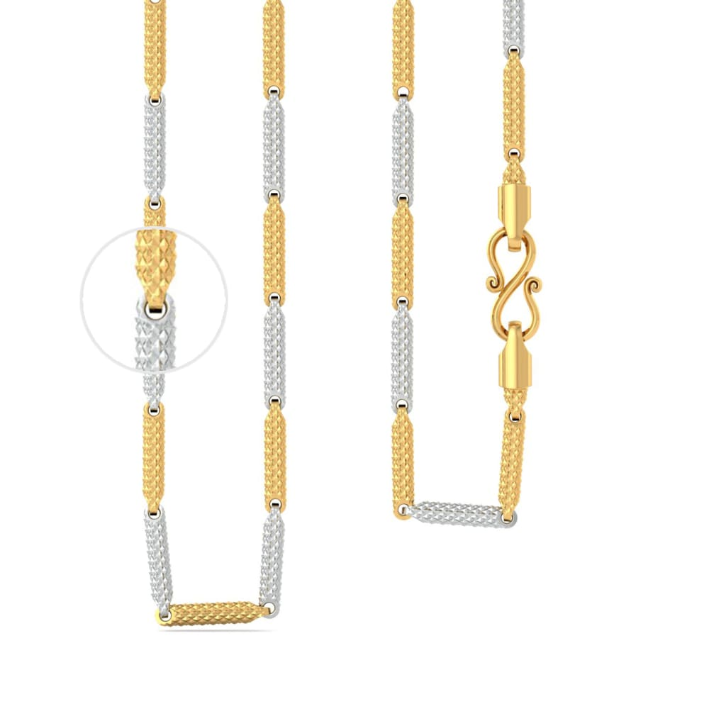 22k two tone Shimmer cylinderical chain Gold Chains