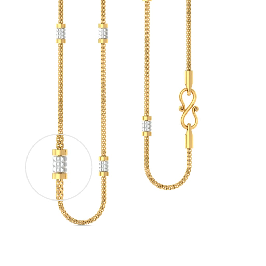 22kt 2-Tone Beaded Snake Chain Gold Chains