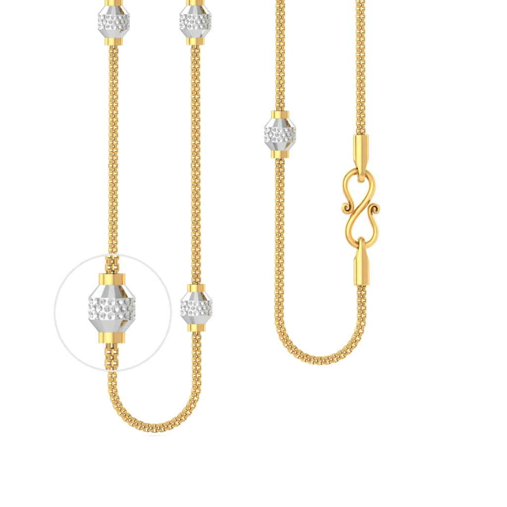 22kt Rhodium Plated Beaded Snake Chain Gold Chains