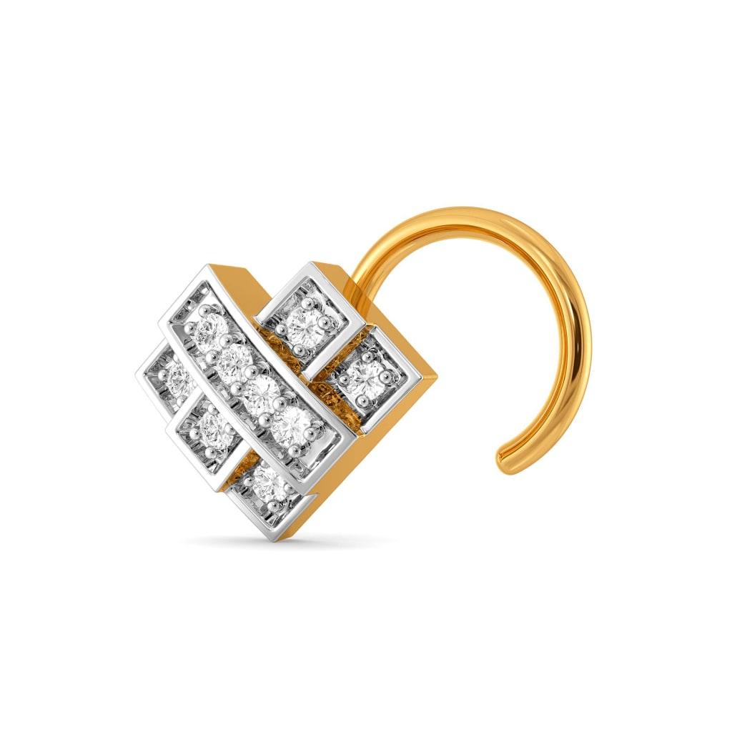 Checkered Cross Diamond Nose Pins