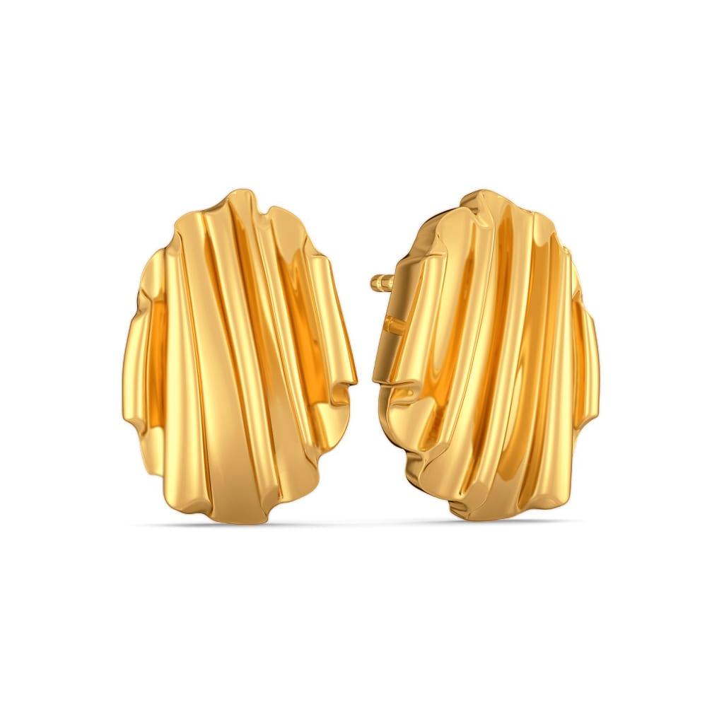 Ruffle Truffle Gold Earrings
