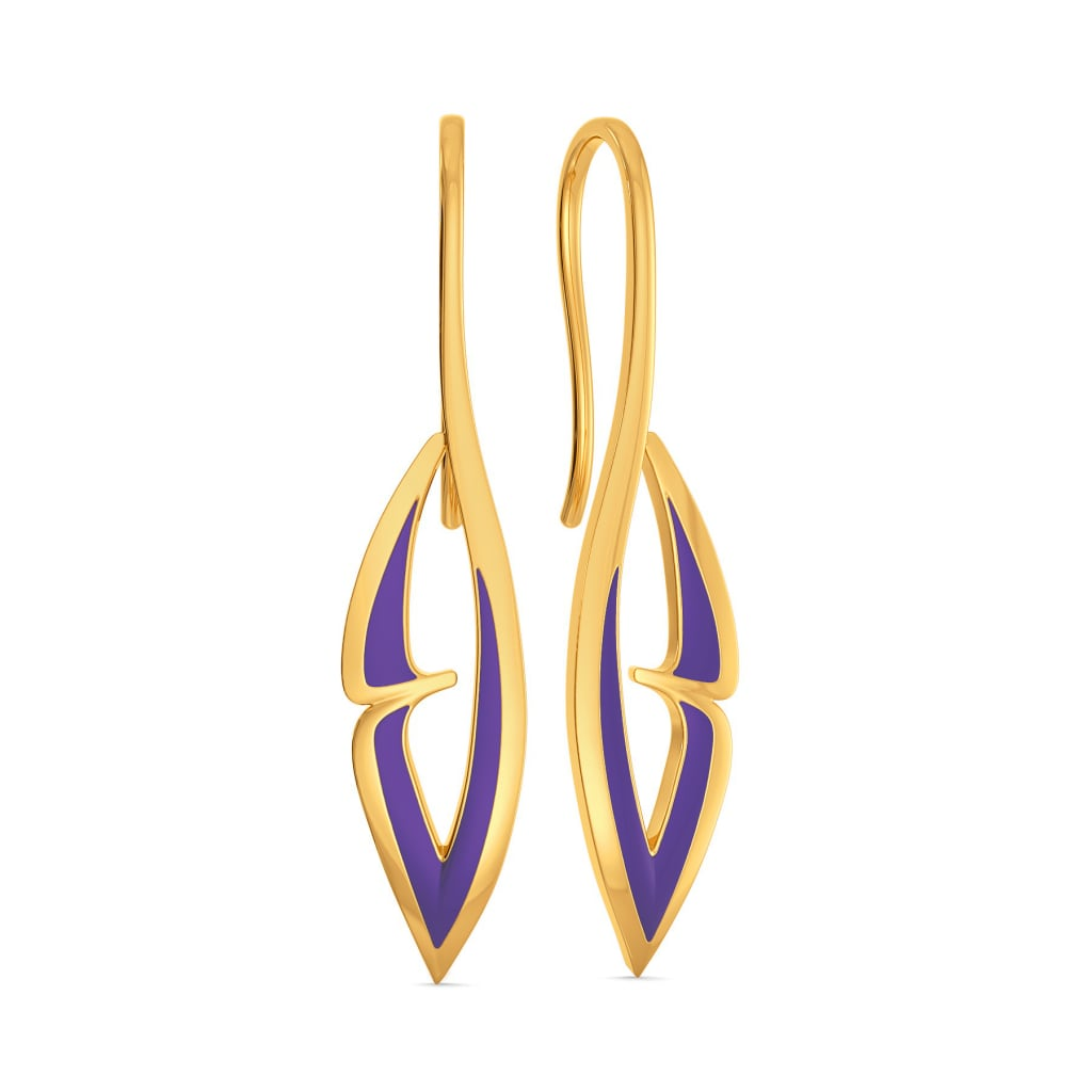 Violet Wings Gold Earrings