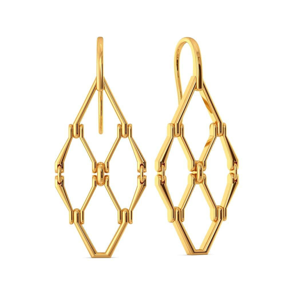 Hippie Net Gold Earrings