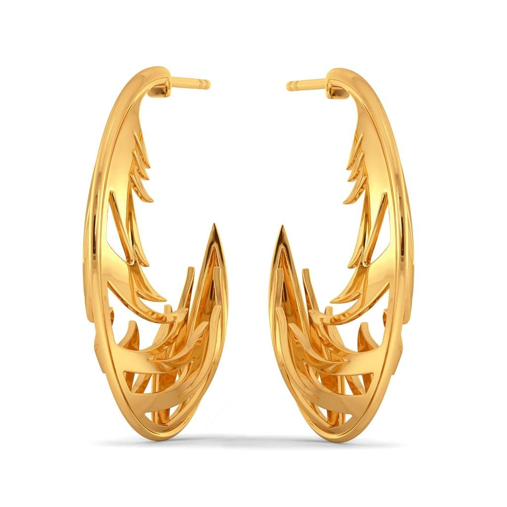 Feathery Wave Gold Earrings