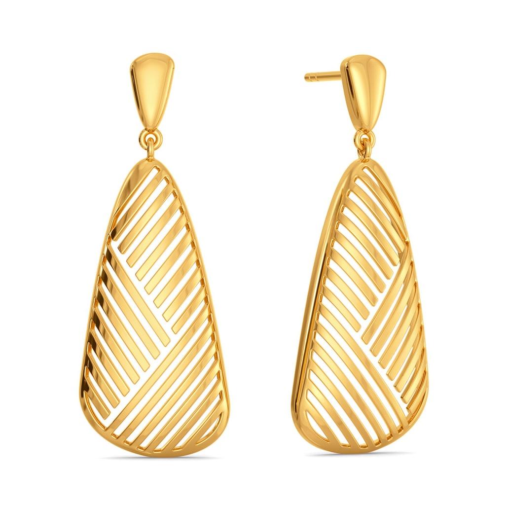 Sheer Strings Gold Earrings